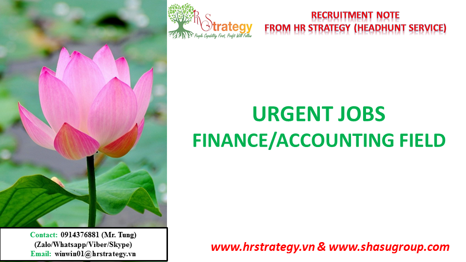 HR Strategy Top Headhunter in Vietnam Market would like to give you & your friends updated urgent vacancies in Finance/Accountingfield from HR Strategy Top Headhunter in Vietnam Market's Clients