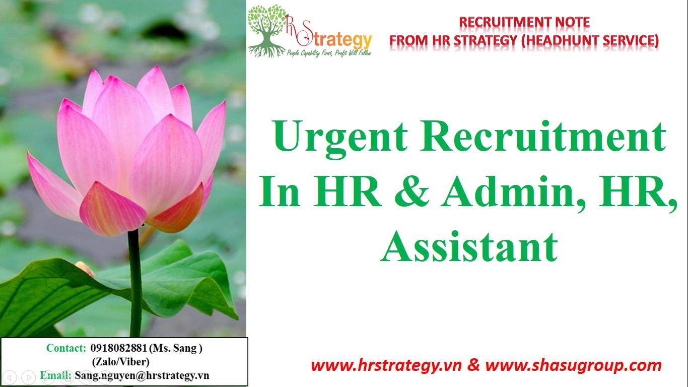 Urgent Recruitment in HR & Admin, HR, Assistant