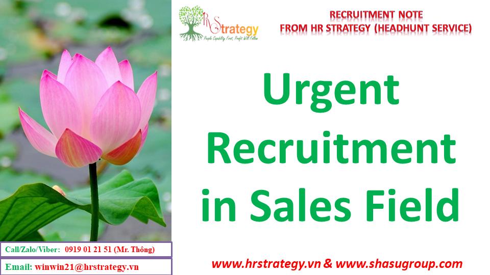 Urgent Recruitment in Sales Field