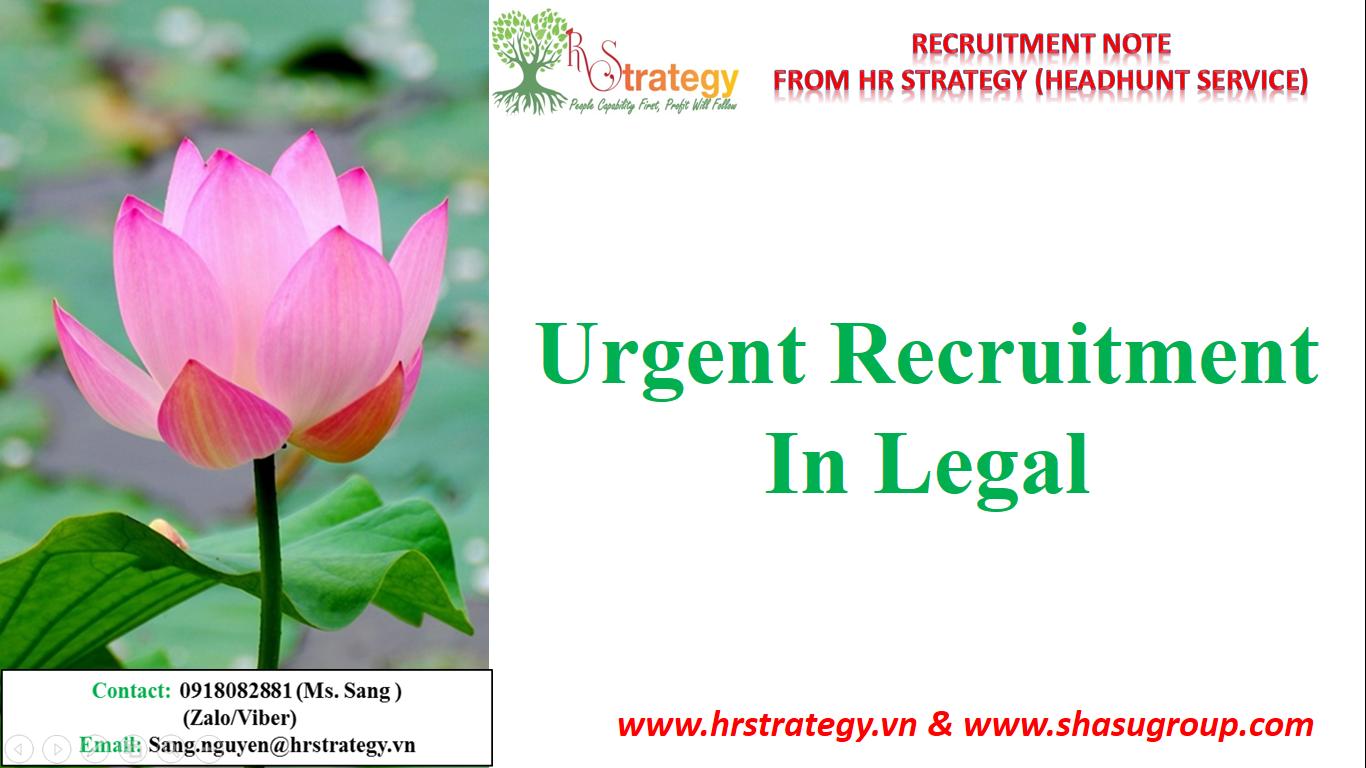Urgent Recruitment in Legal