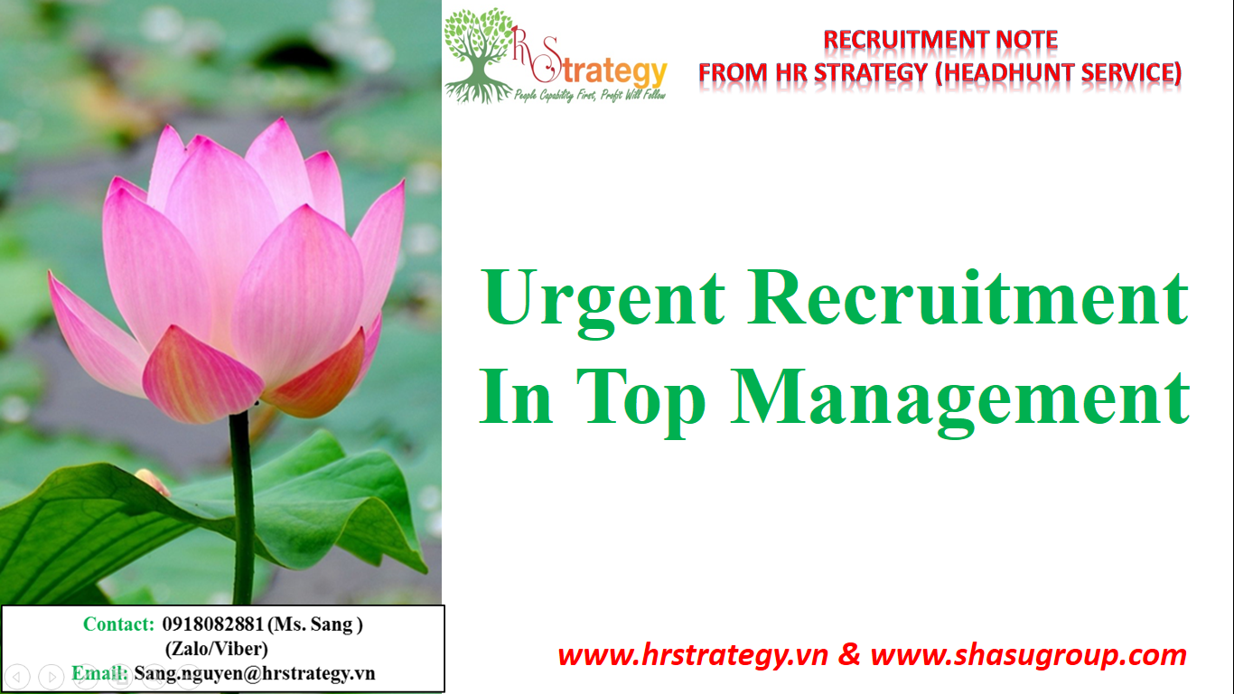 Urgent Recruitment in Top Management